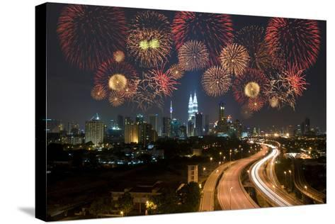 Kuala Lumpur Night View during Fireworks Celebration-wong yu liang-Stretched Canvas Print