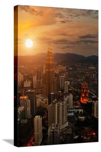 Kuala Lumpur Sunset Scene with Petronas Towers-Vitaly Titov-Stretched Canvas Print