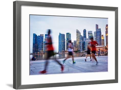 People Runing in the Evening in Singapore-joyfull-Framed Art Print