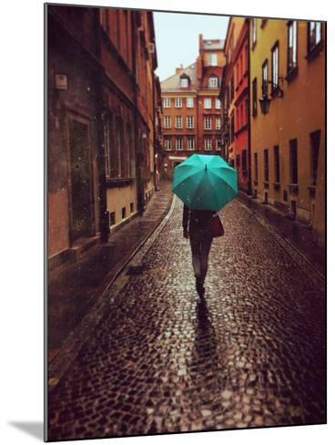 Woman with Umbrella Walking on the Rain in Old Town of Warsaw, Poland. Vintage Edited Picture-Happy Moments-Mounted Photographic Print