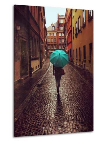 Woman with Umbrella Walking on the Rain in Old Town of Warsaw, Poland. Vintage Edited Picture-Happy Moments-Metal Print