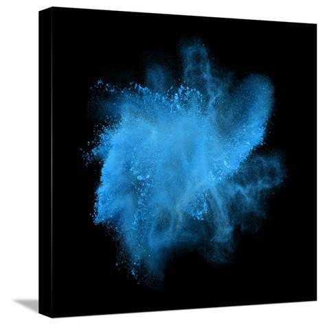 Freeze Motion of Blue Powder Exploding, Isolated on Black, Dark Background. Abstract Design of Whit-Bashutskyy-Stretched Canvas Print