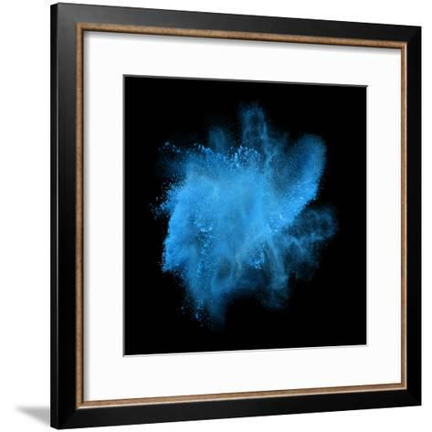 Freeze Motion of Blue Powder Exploding, Isolated on Black, Dark Background. Abstract Design of Whit-Bashutskyy-Framed Art Print