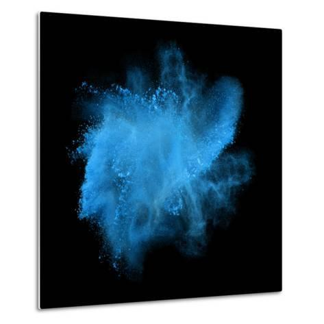 Freeze Motion of Blue Powder Exploding, Isolated on Black, Dark Background. Abstract Design of Whit-Bashutskyy-Metal Print