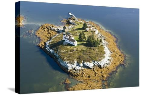 Aerial View of an Island and Lighthouse near Acadia National Park, Maine-Joseph Sohm-Stretched Canvas Print