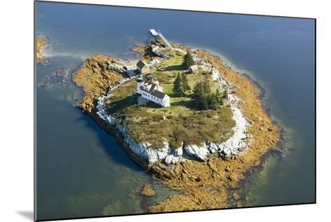 Aerial View of an Island and Lighthouse near Acadia National Park, Maine-Joseph Sohm-Mounted Photographic Print