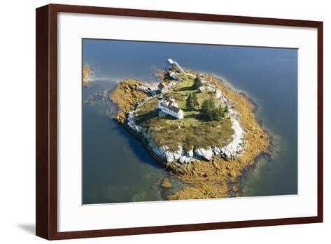 Aerial View of an Island and Lighthouse near Acadia National Park, Maine-Joseph Sohm-Framed Art Print