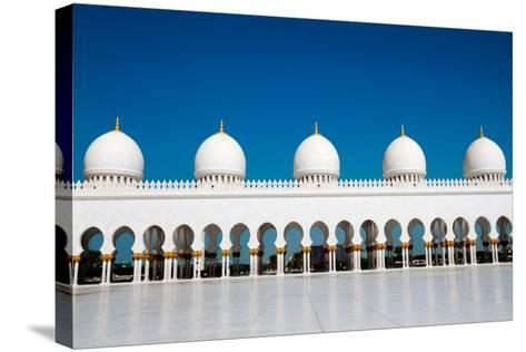 Five Domes of Sheikh Zayed Mosque in Abu Dhabi-In Green-Stretched Canvas Print