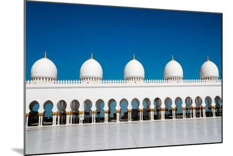 Five Domes of Sheikh Zayed Mosque in Abu Dhabi-In Green-Mounted Photographic Print