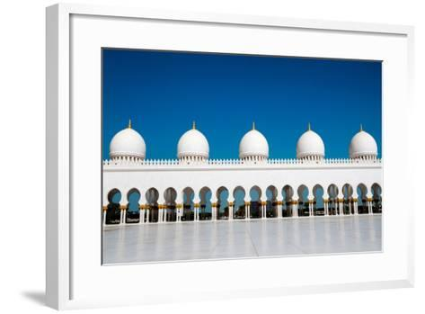 Five Domes of Sheikh Zayed Mosque in Abu Dhabi-In Green-Framed Art Print