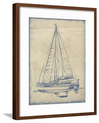 Yacht Blueprint I-Ethan Harper-Framed Art Print