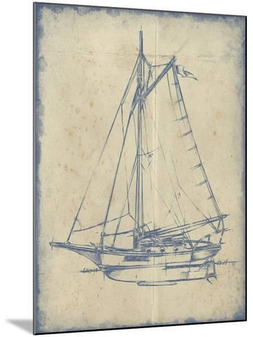 Yacht Blueprint II-Ethan Harper-Mounted Art Print