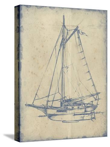Yacht Blueprint II-Ethan Harper-Stretched Canvas Print