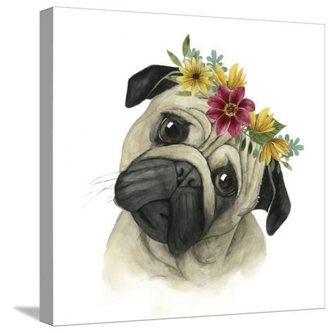 Flower Crown Pup I-Grace Popp-Stretched Canvas Print