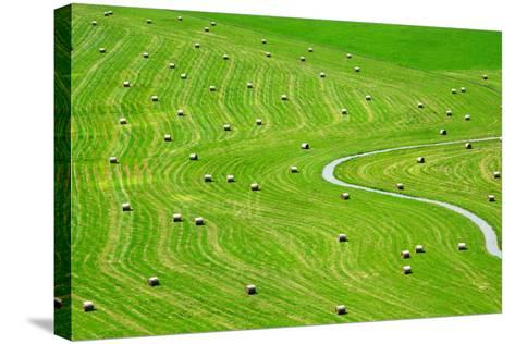 Bales of Hay on Meadow. Aerial View on Summer Landscape.- Peteri-Stretched Canvas Print
