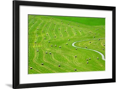 Bales of Hay on Meadow. Aerial View on Summer Landscape.- Peteri-Framed Art Print