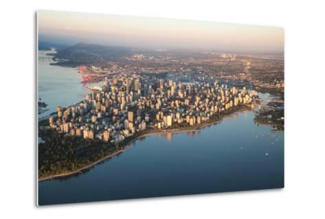 Aerial View of Stanley Park and Downtown Vancouver, Bc, Canada. during a Hazy Sunny Sunset.-Edgar Bullon-Metal Print