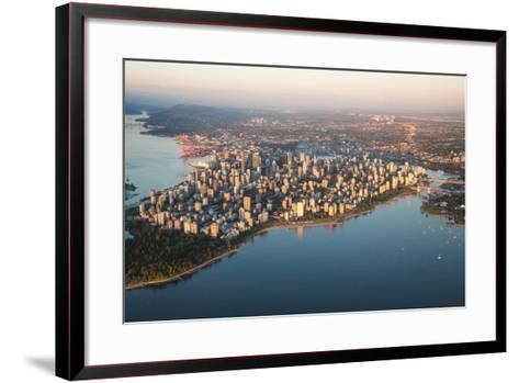 Aerial View of Stanley Park and Downtown Vancouver, Bc, Canada. during a Hazy Sunny Sunset.-Edgar Bullon-Framed Art Print