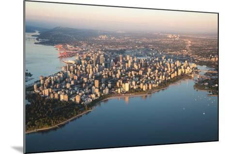 Aerial View of Stanley Park and Downtown Vancouver, Bc, Canada. during a Hazy Sunny Sunset.-Edgar Bullon-Mounted Photographic Print