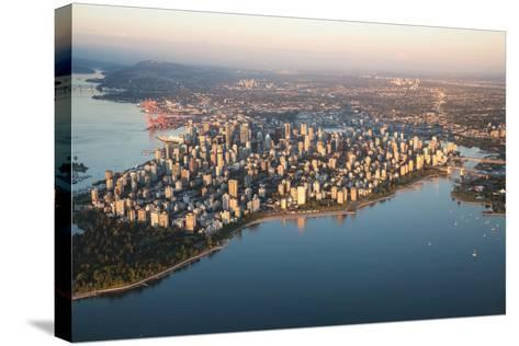 Aerial View of Stanley Park and Downtown Vancouver, Bc, Canada. during a Hazy Sunny Sunset.-Edgar Bullon-Stretched Canvas Print