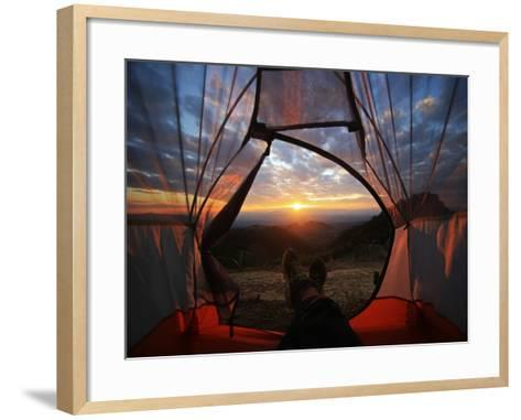 A Camping Tent Glows under Sunset to a Night Sky Outdoor Camping Adventure-noppawan leecharoenphong-Framed Art Print