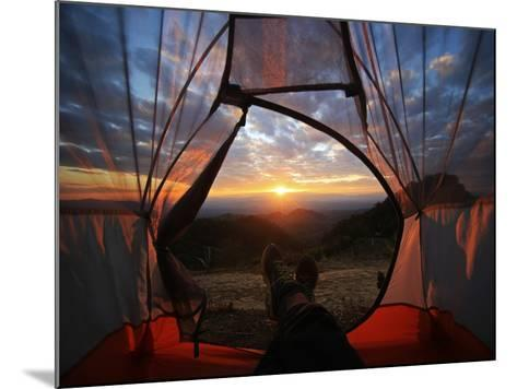 A Camping Tent Glows under Sunset to a Night Sky Outdoor Camping Adventure-noppawan leecharoenphong-Mounted Photographic Print