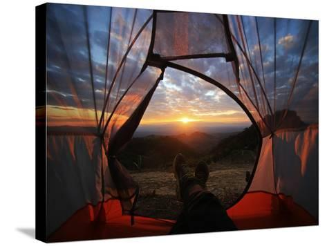 A Camping Tent Glows under Sunset to a Night Sky Outdoor Camping Adventure-noppawan leecharoenphong-Stretched Canvas Print