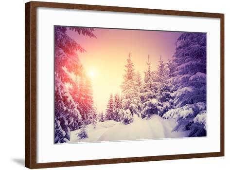 Fantastic Landscape Glowing by Sunlight. Dramatic Wintry Scene. Natural Park. Carpathian, Ukraine,-Creative Travel Projects-Framed Art Print