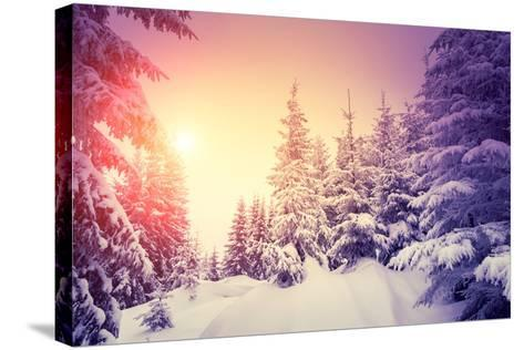 Fantastic Landscape Glowing by Sunlight. Dramatic Wintry Scene. Natural Park. Carpathian, Ukraine,-Creative Travel Projects-Stretched Canvas Print