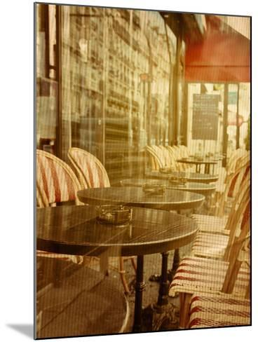 Old-Fashioned Coffee Terrace with Tables and Chairs,Paris France-ilolab-Mounted Photographic Print