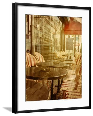 Old-Fashioned Coffee Terrace with Tables and Chairs,Paris France-ilolab-Framed Art Print