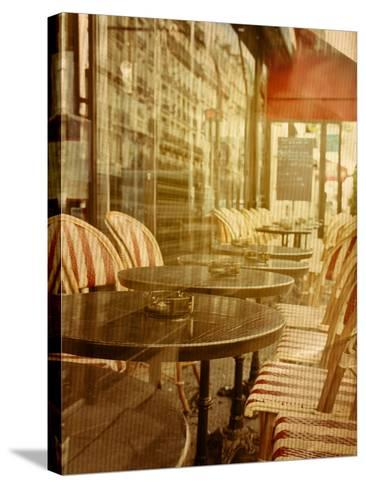 Old-Fashioned Coffee Terrace with Tables and Chairs,Paris France-ilolab-Stretched Canvas Print