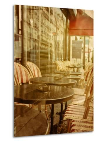 Old-Fashioned Coffee Terrace with Tables and Chairs,Paris France-ilolab-Metal Print