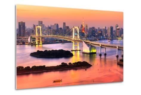 Tokyo Skyline with Tokyo Tower and Rainbow Bridge. Tokyo, Japan.-Luciano Mortula - LGM-Metal Print