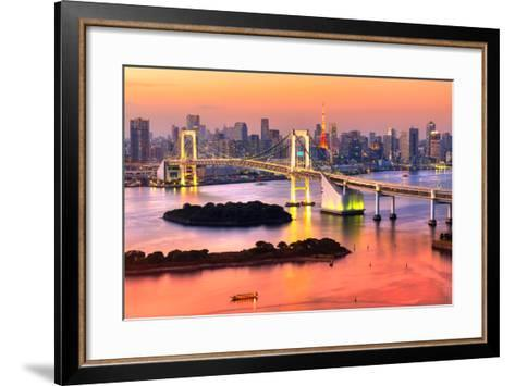 Tokyo Skyline with Tokyo Tower and Rainbow Bridge. Tokyo, Japan.-Luciano Mortula - LGM-Framed Art Print