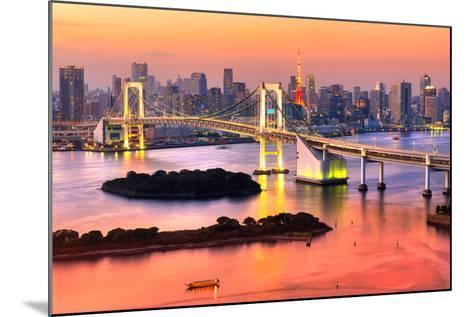 Tokyo Skyline with Tokyo Tower and Rainbow Bridge. Tokyo, Japan.-Luciano Mortula - LGM-Mounted Photographic Print