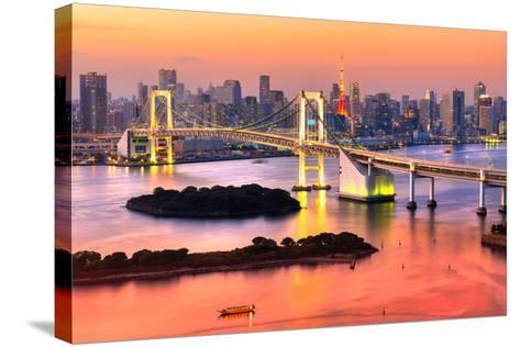 Tokyo Skyline with Tokyo Tower and Rainbow Bridge. Tokyo, Japan.-Luciano Mortula - LGM-Stretched Canvas Print
