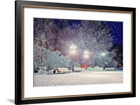 Winter Night Landscape - Evening in the Night Snowy Park with Benches under Snowfall-Marina Zezelina-Framed Art Print