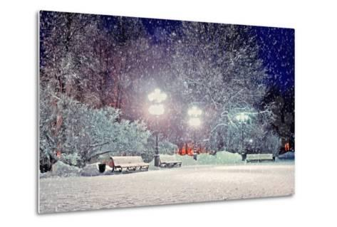 Winter Night Landscape - Evening in the Night Snowy Park with Benches under Snowfall-Marina Zezelina-Metal Print