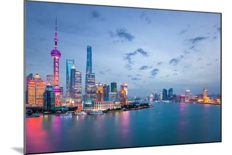 Shanghai in Nightfall, Beautiful Metropolitan Cityscape , China- chuyuss-Mounted Photographic Print