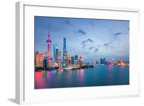 Shanghai in Nightfall, Beautiful Metropolitan Cityscape , China- chuyuss-Framed Art Print