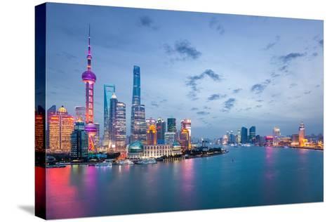 Shanghai in Nightfall, Beautiful Metropolitan Cityscape , China- chuyuss-Stretched Canvas Print