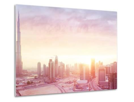 Beautiful Sunset over Dubai City, Amazing Cityscape Lit with Warm Sun Light, Contemporary New Moder-Anna Om-Metal Print