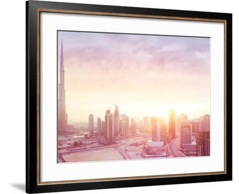 Beautiful Sunset over Dubai City, Amazing Cityscape Lit with Warm Sun Light, Contemporary New Moder-Anna Om-Framed Art Print
