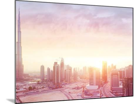 Beautiful Sunset over Dubai City, Amazing Cityscape Lit with Warm Sun Light, Contemporary New Moder-Anna Om-Mounted Photographic Print