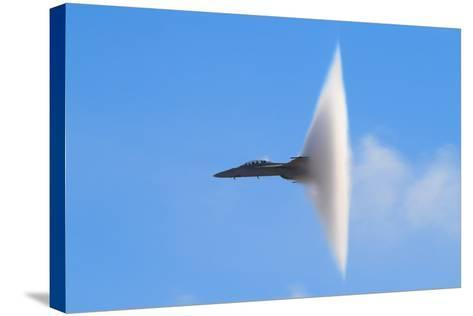 F-18 Super Hornet Vapor Cone - A Distinctive Vapor Cone Forms around the Jet as it Nears the Speed- SVSimagery-Stretched Canvas Print