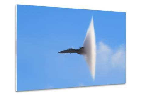 F-18 Super Hornet Vapor Cone - A Distinctive Vapor Cone Forms around the Jet as it Nears the Speed- SVSimagery-Metal Print