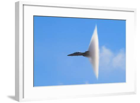 F-18 Super Hornet Vapor Cone - A Distinctive Vapor Cone Forms around the Jet as it Nears the Speed- SVSimagery-Framed Art Print