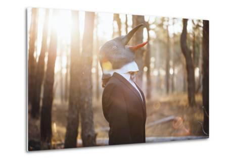 Weird Businessman Wearing a Bird Rubber Mask in the Autumn Sunset Forest- AnastasiaNess-Metal Print