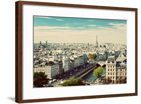 Paris Panorama, France. View on Eiffel Tower and Seine River from Notre Dame Cathedral. Vintage, Re-Michal Bednarek-Framed Art Print